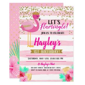 Flamingo Girls Pink Gold Birthday Let's Flamingle Invitation