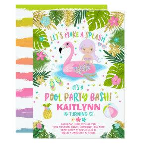 Flamingo & Mermaid Pool Party Invitation Tropical