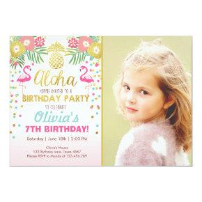 Flamingo party Invitations Tropical Birthday luau