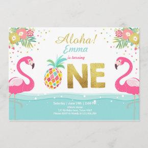 Flamingo party invitation Tropical Pineappel Luau