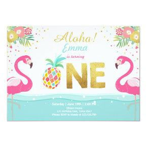 Flamingo party Invitations Tropical Pineappel Luau