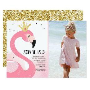 Flamingo party Tropical Pink Gold Girl Birthday Invitation