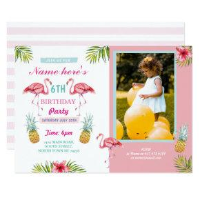 Flamingo Photo Pineapple Tropical Aloha Birthday Invitation