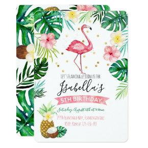 Flamingo Pineapple Birthday Party Invitation