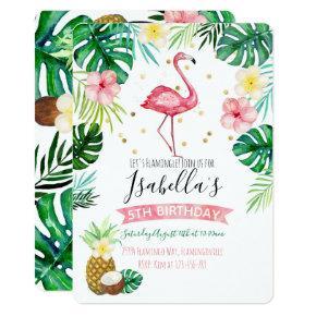 Flamingo Pineapple Birthday Party Invitations