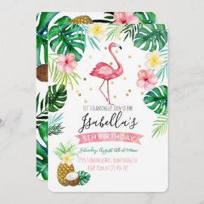 Flamingo Pineapple Birthday Party Invitation