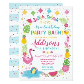 Flamingo Pool Party Birthday Invitation