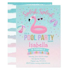 Flamingo Pool Party Birthday Invitations Pink Gold