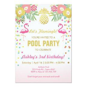 Flamingo Pool party Invitations Tropical