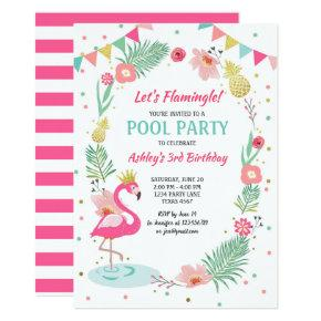 Flamingo Pool party Invitations Tropical Birthday