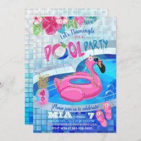 Flamingo Pool Party, Tropical Birthday  Pink Invitation