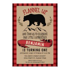 Flannel Lumberjack 1st Or 2nd Birthday Invitations