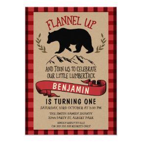 Flannel Lumberjack 1st Or 2nd Birthday Invitation