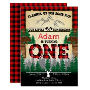 Flannel Lumberjack Birthday Party Invitations