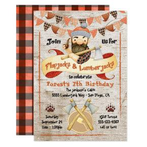 Flapjacks and Lumberjacks Birthday Party invites