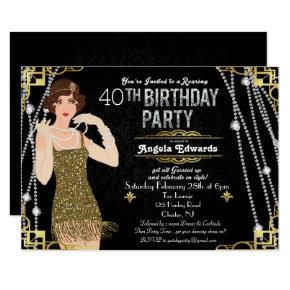 Flapper Girl Birthday Invitation
