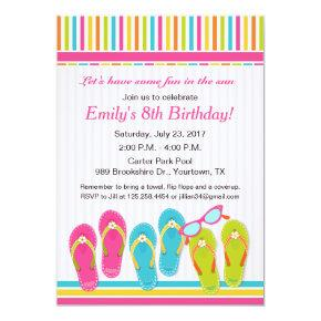 Flip flop Birthday Invitation and Pool Party