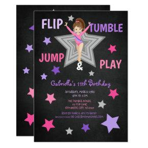 Flip, Tumble, Jump, & Play Gymnastics Birthday Invitation