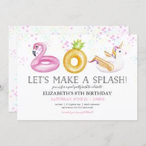 Floatie Pool Party Birthday Invitation