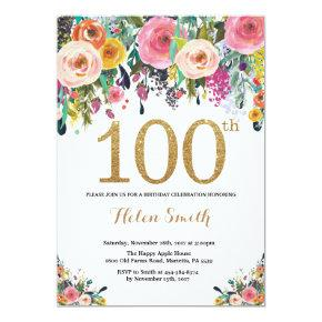 Floral 100th Birthday Invitation Gold Glitter