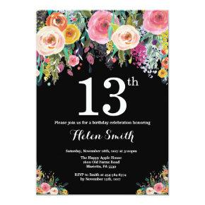 Floral 13th Birthday Invitation