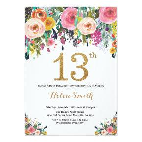 Floral 13th Birthday Invitation Gold Glitter