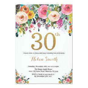 Floral 30th Birthday Invitation Gold Glitter