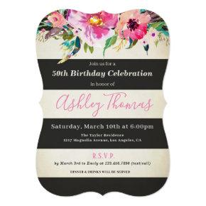 floral 50th birthday  for women