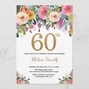 Floral 60th Birthday Invitation Gold Glitter