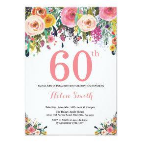 Floral 60th Birthday Invitation Pink
