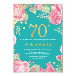 Floral 70th Birthday Gold Glitter and Teal Invitation