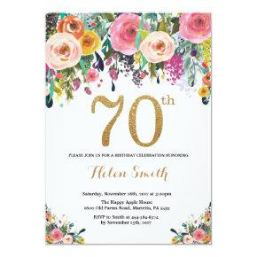 Floral 70th Birthday Invitations Gold Glitter