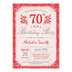 Floral 70th Birthday Invitation Red for Women