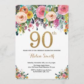 Floral 90th Birthday Invitation Gold Glitter