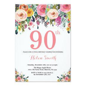 Floral 90th Birthday Invitation Pink