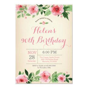 Floral 90th Birthday Invitation Pink Watercolor