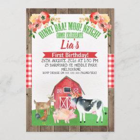 Floral barnyard farm birthday invitation