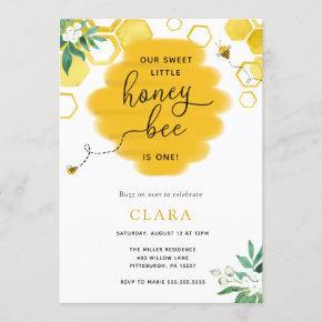 Floral Bee-Day Birthday Invitation