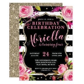Floral Black and White Stripes Invitation