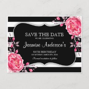 Floral Black White Striped Birthday Save The Date Announcement Postcard