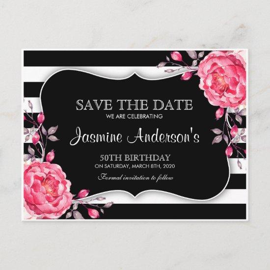 Floral Black White Striped Birthday Save The Date Announcement Post