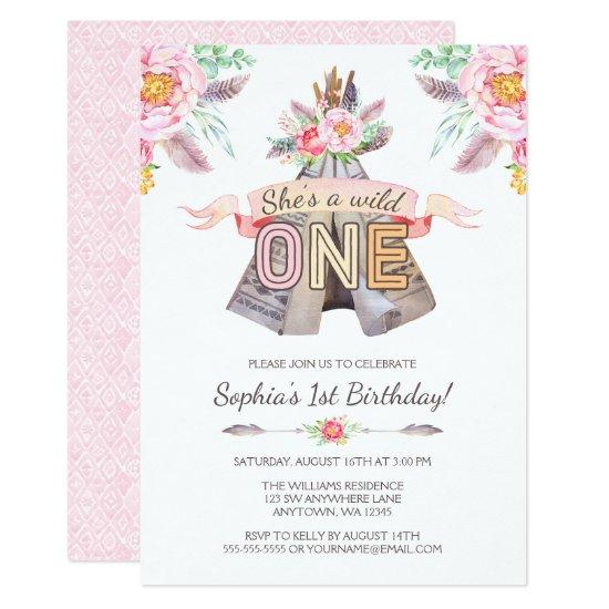 Floral Boho Tribal Teepee Wild One 1st Birthday Invitations