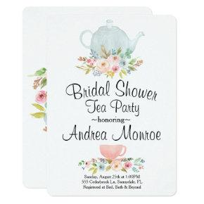 Floral Bridal Shower Tea Party Custom Invitation