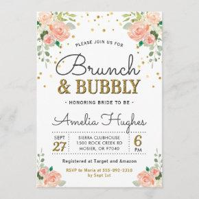Floral Brunch and Bubbly Peony Gold Bridal Shower Invitation