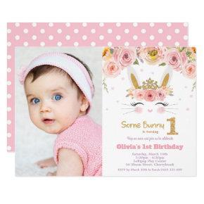 Floral Cute Bunny Rabbit 1st Birthday Photo Invitation
