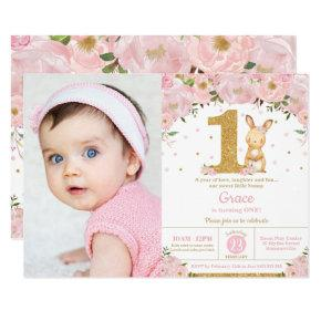 Floral Cute Bunny Rabbit Girl 1st Birthday Photo Invitation
