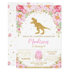 Floral Dinosaur Birthday Invitation Girl T-Rex