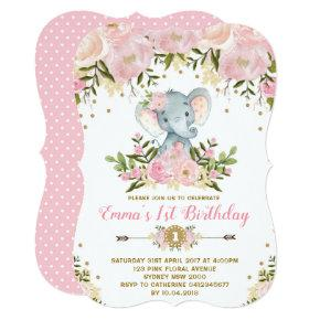 Floral Elephant Birthday Invitation Pink & Gold