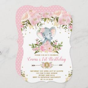 Floral Elephant Birthday Invitation Pink & Gold