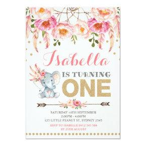 Floral Elephant Invitations Pink Gold Boho Birthday